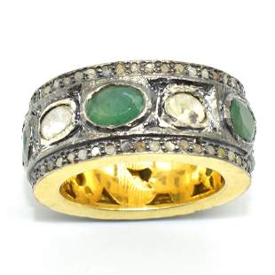 Silver Rose Cut Diamond Emerald Ring