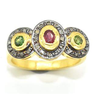 Silver Diamond Ruby Emerald Ring