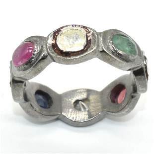 Silver Rose Cut Diamond Ruby Emerald Ring
