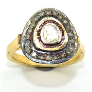 Silver Rose Cut Diamond Ring