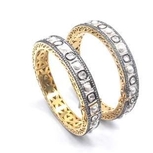 Natural Zircon & Pearl Victorian Jewelry Bangle