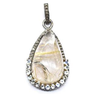 Silver Diamond Rutile Moonstone Pendant