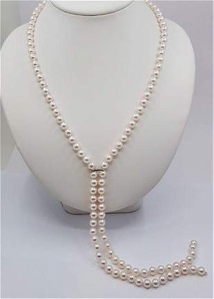 14 kt. White Gold - Top grade 6x7mm Akoya Pearls -