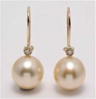 14 kt. Yellow Gold - 11x12mm Golden South Sea Pearls -