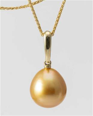 11x12mm Deep Golden South Sea Pearl Drop - 14 kt.