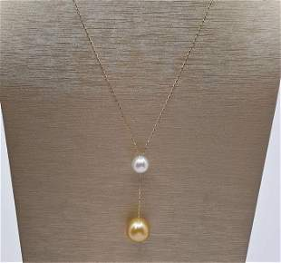 10x13mm Golden and White South Sea Pearls - 18 kt.