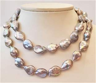 925 Silver - 16x17mm Cultured Pearls - Necklace