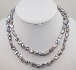 925 Silver - 8x9mm Keshi Freshwater Pearls - Long