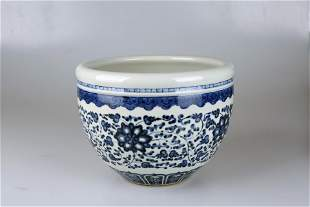 Qing Dynasty 17-19 century blue and white lotus study