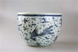 Qing Dynasty 17-19th century blue and white dragon and