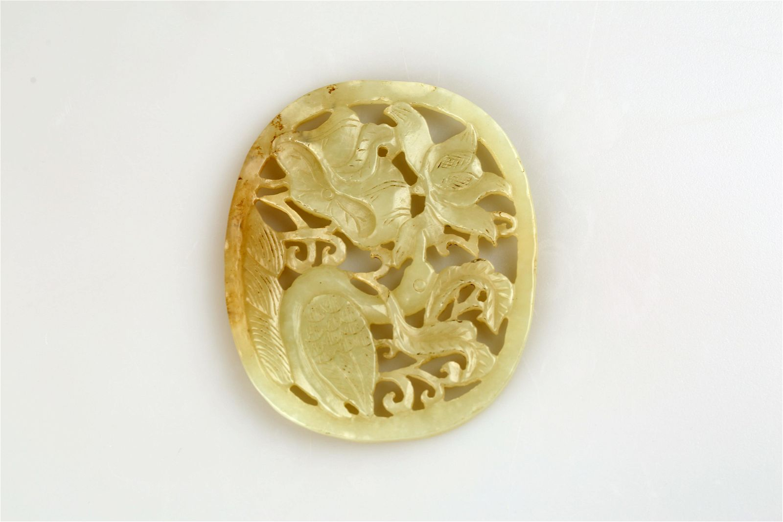 Qing Dynasty hollowed white jade pendant