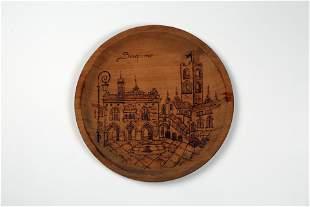 European street landscape engraving pendant