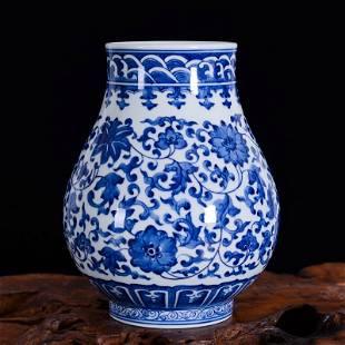 blue and white porcelain lotus flower vase