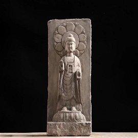 Blue stone sculpture of Shakyamuni Buddha