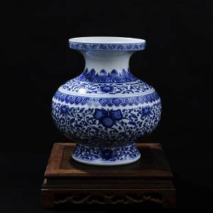blue and white enmeshed lotus flower vase