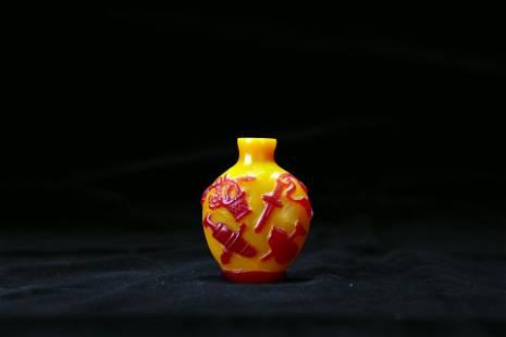 A yellow-glazed agate snuff bottle, Qing dynasty