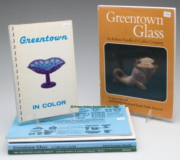 """14: GREENTOWN GLASS REFERENCE BOOKS, LOT OF SIX, """"The G"""