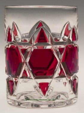 "DUNCAN NO. 325 - RUBY STAINED TUMBLER. 3 7/8"" H, 2"