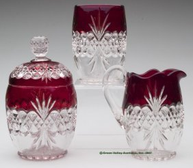 ROYAL CRYSTAL - RUBY STAINED ASSEMBLED THREE-PIECE