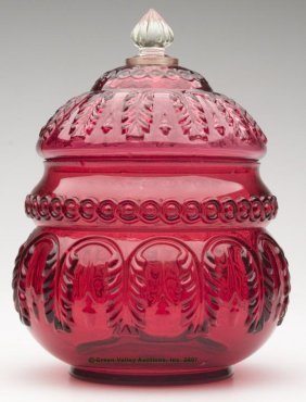 NORTHWOOD'S NO. 263 / LEAF UMBRELLA CRACKER JAR, Ru