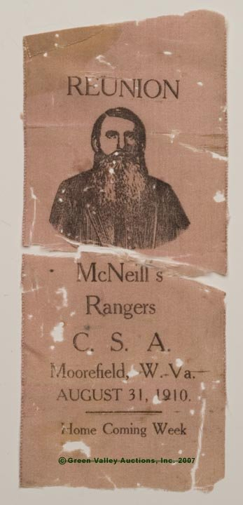 139: 1910 MCNEILL'S RANGERS C.S.A REUNION RIBBON, Moore