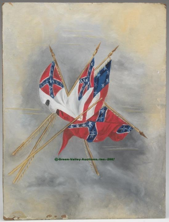 539: CONFEDERATE FLAGS PAINTING, oil on artist's board,