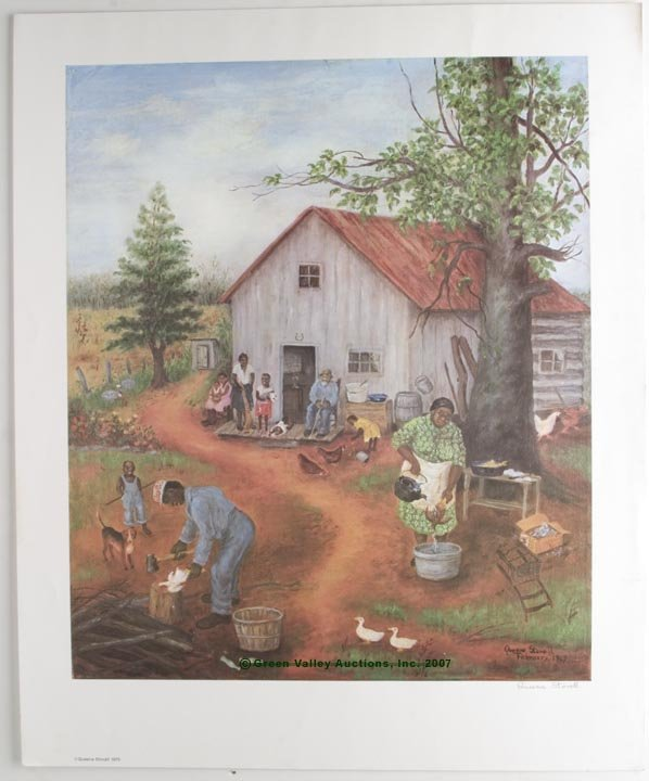 """545: SIGNED QUEENA STOVALL COLOR PRINT, """"Comp'ny Comin'"""