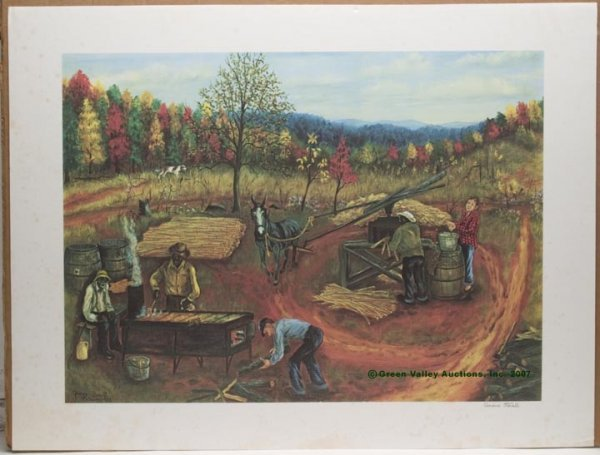 """546: SIGNED QUEENA STOVALL COLOR PRINT, """"Making Sorghum"""