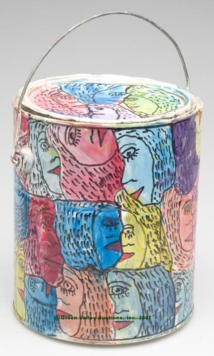 547: HOWARD FINSTER OUTSIDER ART PAINT CAN, inscribed a