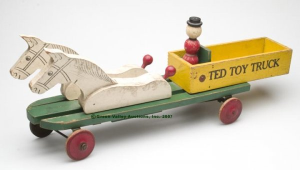 """549: """"TED TOY TRUCK"""" PAINTED WOODEN TOY, platform with"""