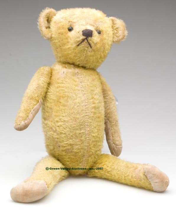 556: JOINTED GOLDEN MOHAIR TEDDY BEAR, jointed arms, le