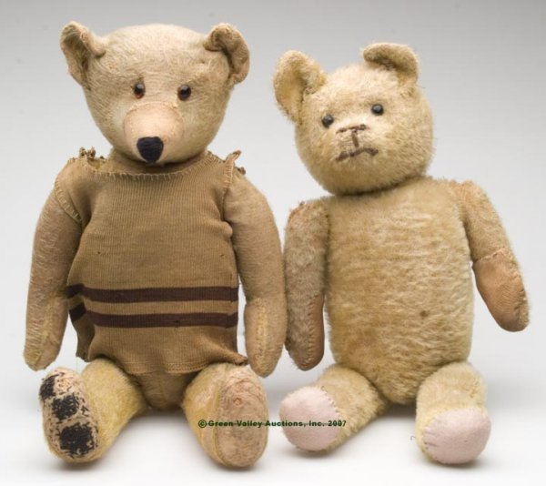 557: JOINTED GOLDEN MOHAIR TEDDY BEARS, LOT OF TWO, joi
