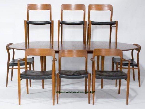 560A: J. M. MOLLER SCANDINAVIAN TEAK DINING TABLE AND E