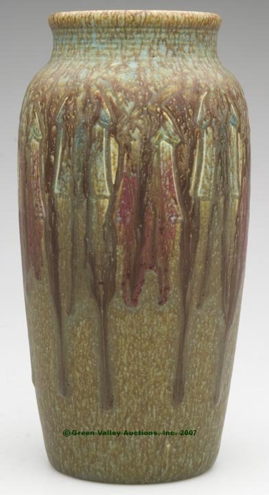 564: ROOKWOOD VASE, mottled and running brown, green an