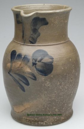 MID-ATLANTIC DECORATED SALT-GLAZED STONEWARE PITC