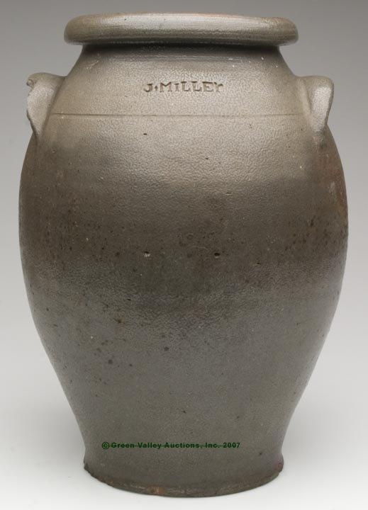 "1023: STAMPED ""J. MILLER"" STRASBURG, VA SALT-GLAZED STO"