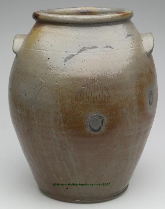 1026: VIRGINIA OR MARYLAND SALT-GLAZED STONEWARE JAR WI