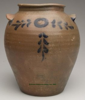 JAMES RIVER, VA DECORATED SALT-GLAZED STONEWARE J