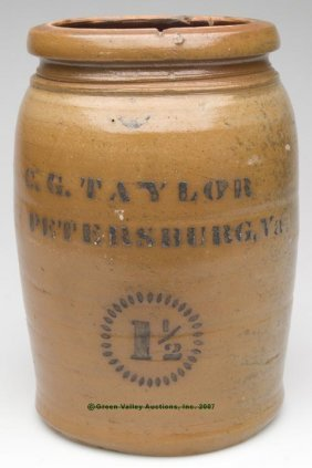 "STENCILED ""C. G. TAYLOR, PETERSBURG, VA"" SALT-GLA"