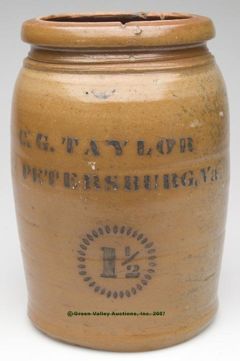 "1039: STENCILED ""C. G. TAYLOR, PETERSBURG, VA"" SALT-GLA"