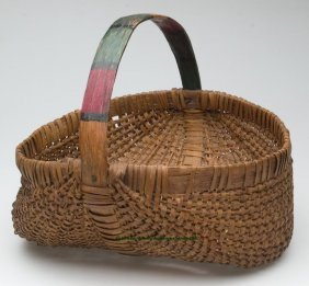 VIRGINIA WHITE OAK SPLINT RIB-TYPE BASKET WITH PA