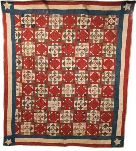 MID-ATLANTIC PATRIOTIC PIECED QUILT, Central Alte