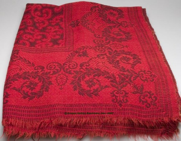 1077: UNSIGNED AMERICAN JACQUARD COVERLET, red and mute