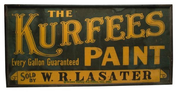 1082: KENTUCKY PAINTED WOOD ADVERTISING SIGN, bright ye