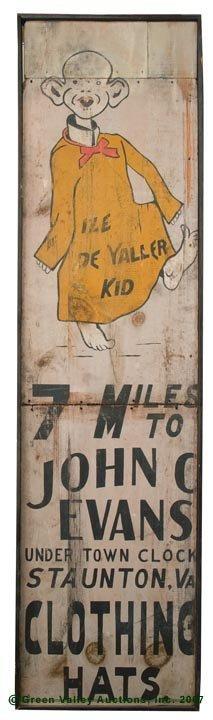 1083: STAUNTON, VA PAINTED WOOD ADVERTISING SIGN, depic