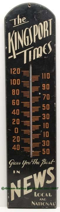 1084: KINGSPORT, TN, PAINTED WOOD ADVERTISING THERMOMET