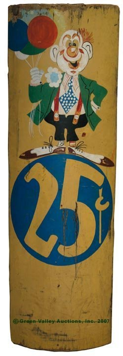 1085: AMERICAN PAINTED WOOD CARNIVAL SIGN, bowed front,