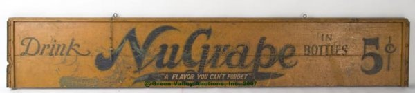 1087: NUGRAPE PAINTED WOOD COUNTRY STORE SIGN, double s