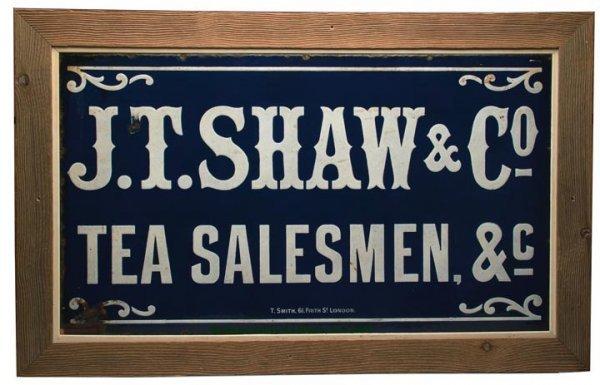 1093: BRITISH PORCELAIN ADVERTISING SIGN, blue ground w