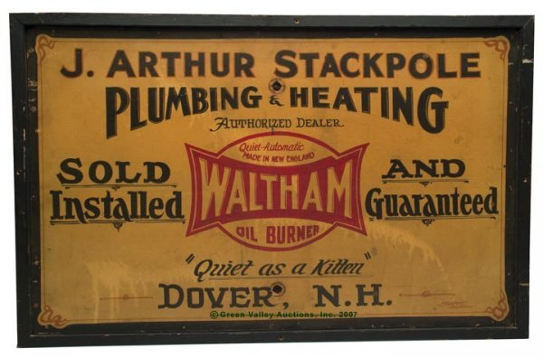 1094: AMERICAN PAINTED ADVERTISING SIGN, oil on Masonit